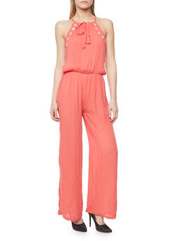 Embroidered Tie Neckline Gauze Knit Jumpsuit - CORAL - 1045038348321