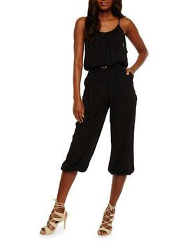 Belted Crinkle Knit Capri Jumpsuit - BLACK - 1045038348322