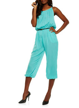 Belted Crinkle Knit Capri Jumpsuit - JADE - 1045038348322