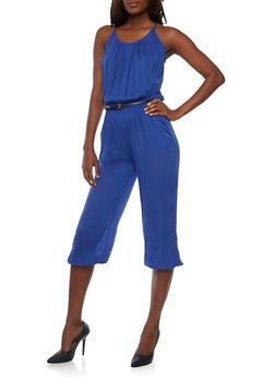 Belted Crinkle Knit Capri Jumpsuit - RYL BLUE - 1045038348322