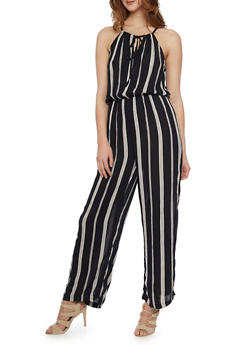 Striped Halter Neck Jumpsuit - BLACK/WHITE - 1045038348323