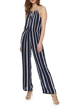 Striped Halter Neck Jumpsuit - NAVY - 1045038348323