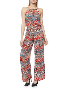 Printed Sleeveless Spaghetti Strap Jumpsuit - 1045038348324