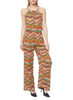 Printed Sleeveless Spaghetti Strap Jumpsuit - RUST - 1045038348324