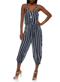 Sleeveless Striped Jumpsuit with Rope Collar Detail - 1045038348327