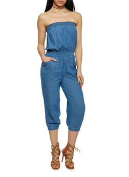 Strapless Chambray Cropped Jumpsuit - MEDIUM WASH - 1045038348341