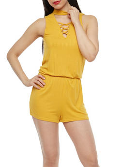 Rib Knit Caged Neck Romper - 1045038348726