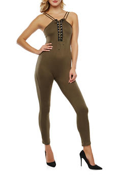 Strappy Lace Up Catsuit - 1045038348810