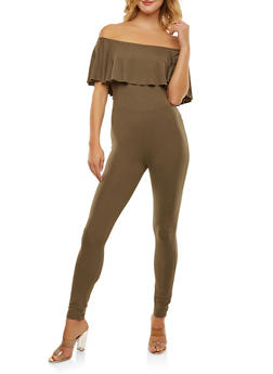 Soft Knit Off the Shoulder Catsuit - 1045038348822