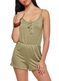 Lace Up Romper - 1045038348824
