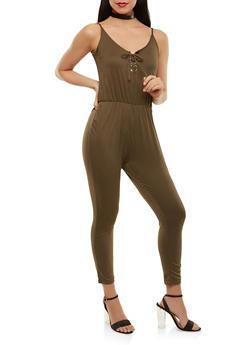 Soft Knit Lace Up Jumpsuit - 1045038348825