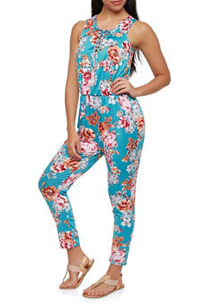 Floral Lace Up Jumpsuit - 1045038348890