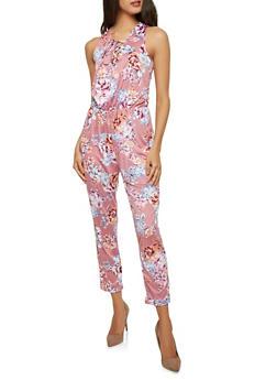 Floral Lace Up Jumpsuit - 1045038348890