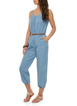 Belted Cropped Denim Jumpsuit - 1045038349310