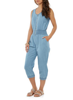 Light Blue Strapless Jumpsuit