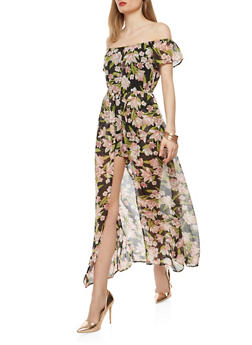 Floral Chiffon Romper with Maxi Skirt Overlay - 1045051060119