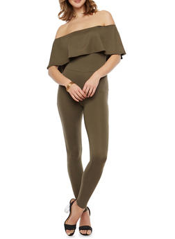 Soft Knit Off the Shoulder Ruffled Catsuit - OLIVE - 1045051060185