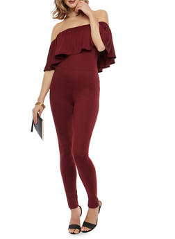 Soft Knit Off the Shoulder Ruffled Catsuit - 1045051060185