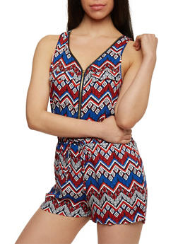 Printed Zip Front Romper with Drawstring Waist - BLUE - 1045051060509