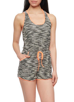 Woven Knit Sleeveless Marled Romper with Neon Trim - CORAL - 1045051060665