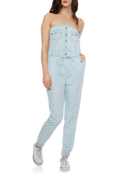 Strapless Denim Jumpsuit with Two Pockets - 1045051060802
