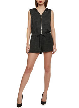 Hooded Sleeveless Zip Front Romper with Drawstring Waist - 1045051060825