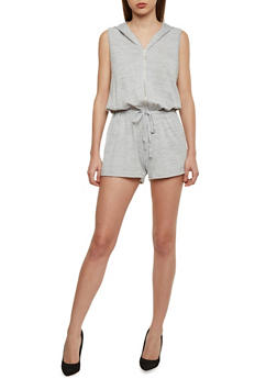 Hooded Sleeveless Zip Front Romper with Drawstring Waist - HEATHER - 1045051060825