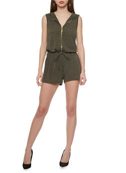 Hooded Sleeveless Zip Front Romper with Drawstring Waist - OLIVE - 1045051060825