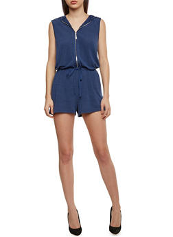 Hooded Sleeveless Zip Front Romper with Drawstring Waist - DENIM - 1045051060825