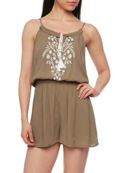 Sleeveless Embroidered Romper with Tassel Tie - 1045051060841
