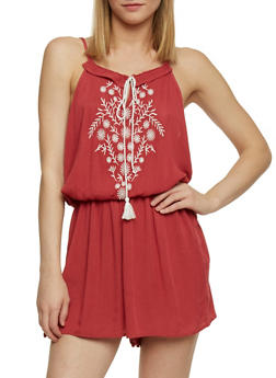 Sleeveless Embroidered Romper with Tassel Tie - RUST - 1045051060841