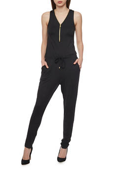 Solid Sleeveless Zip Jumpsuit - BLACK - 1045051060846