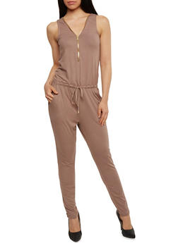 Solid Sleeveless Zip Jumpsuit - KHAKI - 1045051060846