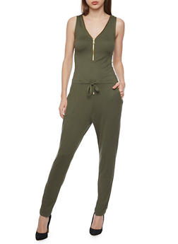 Solid Sleeveless Zip Jumpsuit - OLIVE - 1045051060846