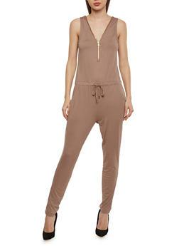 Solid Sleeveless Zip Jumpsuit - MOCHA - 1045051060846