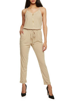 Sleeveless Zip Front Jumpsuit with Drawstring Waist - KHAKI - 1045051060849