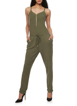 Sleeveless Zip Front Jumpsuit with Drawstring Waist - OLIVE - 1045051060849