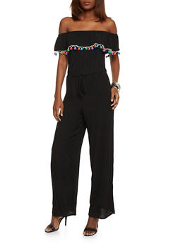 Ruffled Off The Shoulder Crinkle Knit Jumpsuit with Pom Pom Trim - 1045051060852