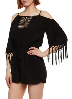 3/4 Sleeve Cold Shoulder Romper with Crochet Detail - BLACK - 1045051060853