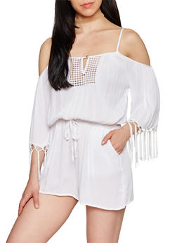 3/4 Sleeve Cold Shoulder Romper with Crochet Detail - 1045051060853