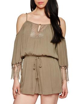 3/4 Sleeve Cold Shoulder Romper with Crochet Detail - OLIVE - 1045051060853