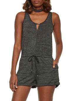 Sleeveless French Terry Scoopneck Romper with Keyhole - 1045051060873
