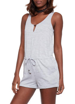 Sleeveless French Terry Scoopneck Romper with Keyhole - HEATHER - 1045051060873