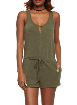 Sleeveless French Terry Scoopneck Romper with Keyhole - OLIVE - 1045051060873