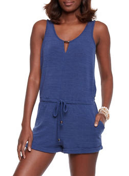 Sleeveless French Terry Scoopneck Romper with Keyhole - DENIM - 1045051060873