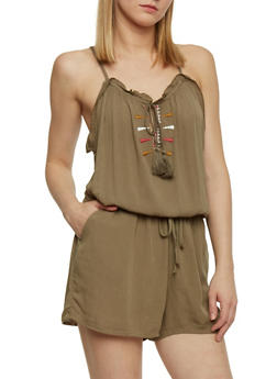 Embroidered Romper With Keyhole Neckline - OLIVE - 1045051060906