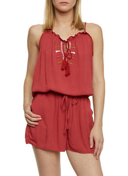 Embroidered Romper With Keyhole Neckline - RUST - 1045051060906