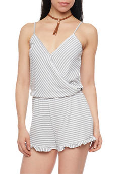 Striped Faux Wrap Romper with Ruffle Hem - 1045051060920