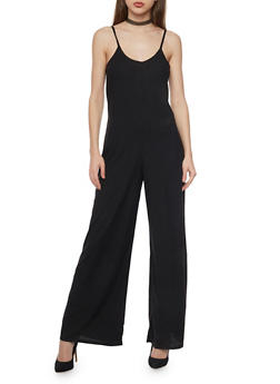 Sleeveless Rib Knit Flared Jumpsuit - 1045051060922