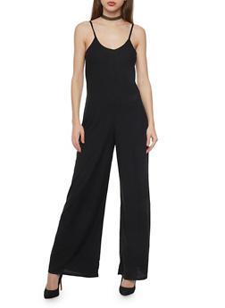 Sleeveless Rib Knit Flared Jumpsuit - BLACK - 1045051060922